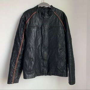 Wilson Cycle Faux Leather Motorcycle Jacket SZ M